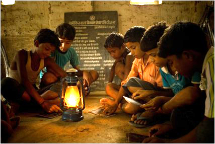 students-study-kerosene-lamps